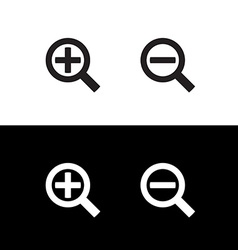 Simple black zoom magnify glass plus and minus vector image