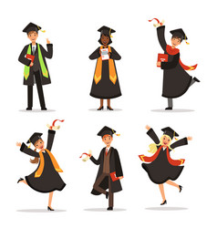 success and happy students graduation in vector image vector image