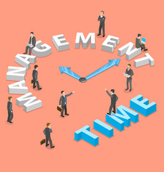 Time management flat isometric concept vector
