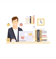 Unhappy Man Office Worker In Office Cubicle Having vector image vector image