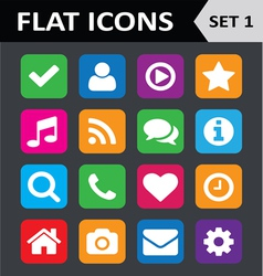 Universal Colorful Flat Icons Set 1 vector image