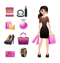 Women shopping decorative set vector