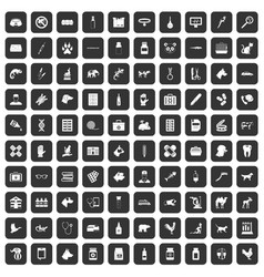 100 veterinary icons set black vector
