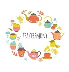 Tea Ceremony Hand Drawn Round Design vector image