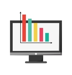 Computer monitor and bar graph icon vector