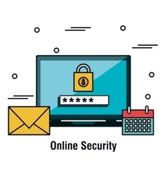Laptop security online password graphic vector