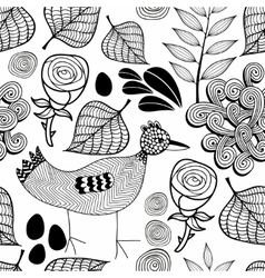 Black and white endless background with nature vector