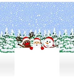 Santa Claus with snowman and reindeer vector image