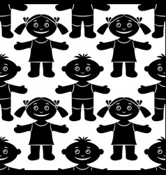Children seamless silhouette vector