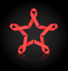 Red ribbon star vector