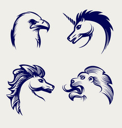 Engraving style animal heads design vector
