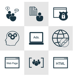 Set of 9 marketing icons includes website vector