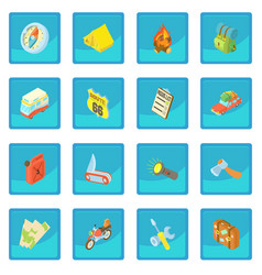 Travel icon blue app vector
