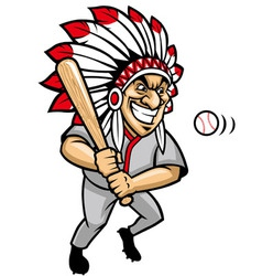 indian chief baseball mascot vector image