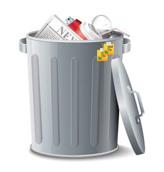 Iron Bin With Garbage vector image