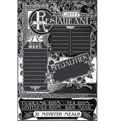 Vintage graphic blackboard menu for restaurant vector
