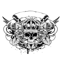 Skull corona roses vector