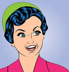 Pop art cute retro woman in comics style vector