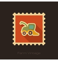 Combine harvester retro flat stamp vector