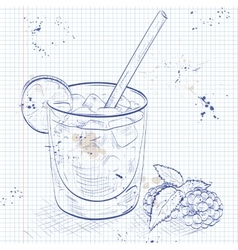 Cocktail bramble on a notebook page vector
