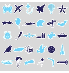 flying theme symbols and stickers set eps10 vector image