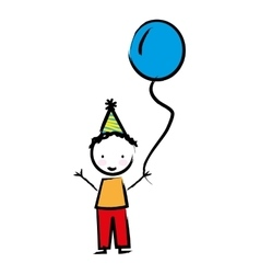 Happy boy with balloon drawn isolated icon design vector