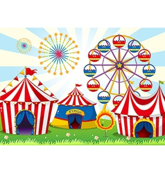 A carnival with stripe tents vector image vector image