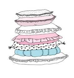 Beautiful pillows on a white background vector image vector image