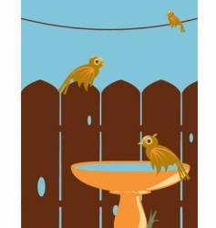 Birds in backyard vector