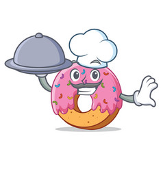 Chef with food donut mascot cartoon style vector
