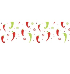 Chili peppers red and green horizontal seamless vector image vector image