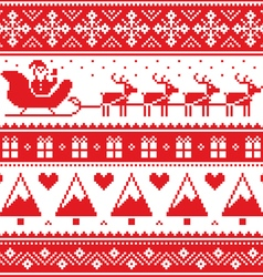 Christmas jumper or sweater seamless red pattern vector