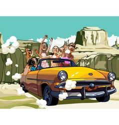 Company cartoon cheerful guys and girls travel vector
