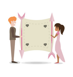 Couple with poster love arrow vector