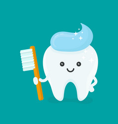 cute happy smiling tooth with toothbrush vector image vector image