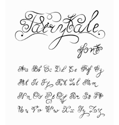 Fairytale hand drawn calligraphic font vector image vector image