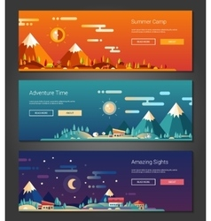 Flat design outdoors activity and tourism vector