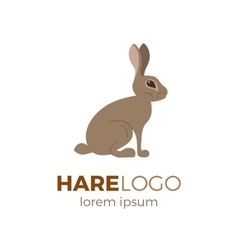 Flat hare logo vector image