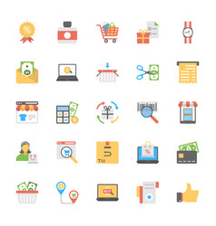 Flat icons of shopping and commerce vector