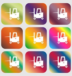 Forklift icon Nine buttons with bright gradients vector image