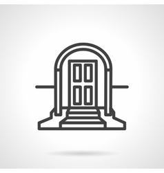 Front door with arch simple line icon vector