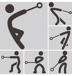 Hammer throw icons vector