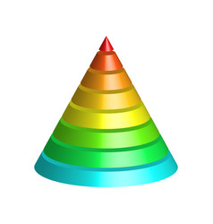 layered cone 3d conical pyramid of 8 multicolored vector image