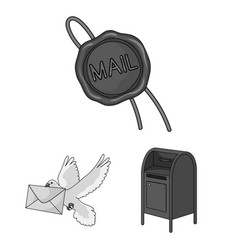 Mail and postman monochrome icons in set vector