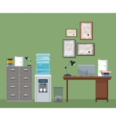 Office workspace desk cabinet cooler water vector