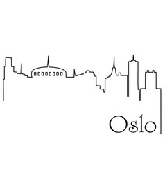 Oslo city one line drawing background vector