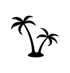 Palm trees black silhouette vector image