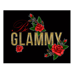 print for t-shirt with sequins and rose vector image