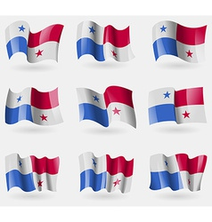 Set of Panama flags in the air vector image