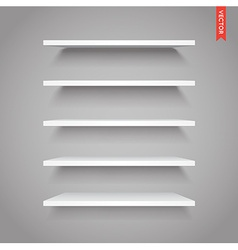 Set of plastic shelves isolated on the wall vector